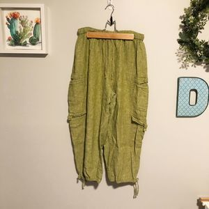 Flax Cargo Pants Cropped Linen Pear Green Jogger